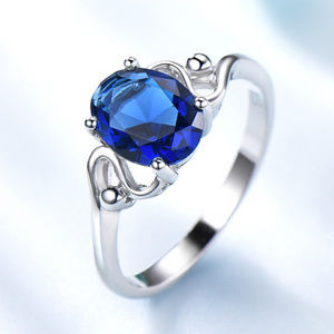 7x9mm Oval Blue Sapphire Engagement Silver Ring